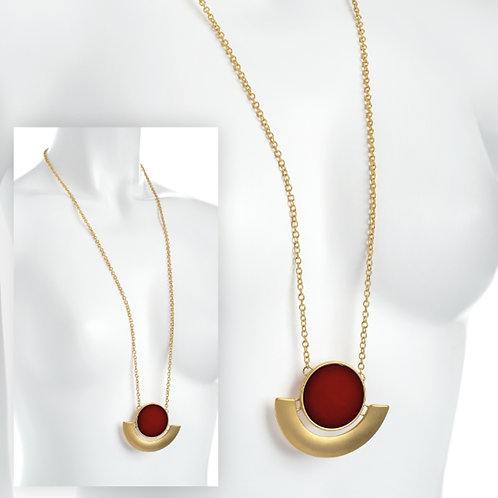 Long Gold Burgundy Geometric Chain Necklace Pendant
