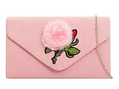 Blush Pink Suede Effect Pom Pom Clutch Bag