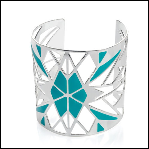 Ladies Silver Turquoise Wide Cuff Bracelet
