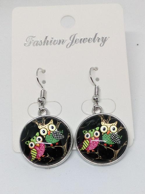 Glass Cabochon Owl Drop Earrings