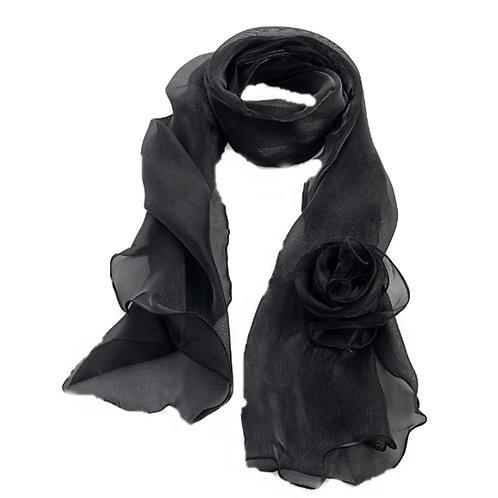 Womens Black metallic Corsage Flower Scarf