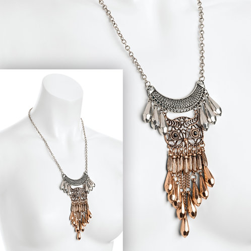 Silver Rose Gold Owl Tassel Necklace Pendant