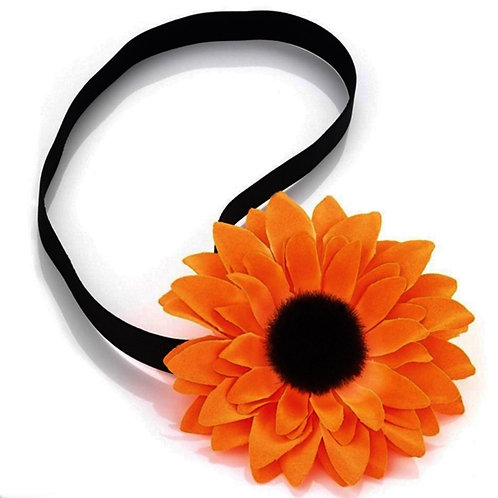 Orange Flower Elasticated Head Wrap