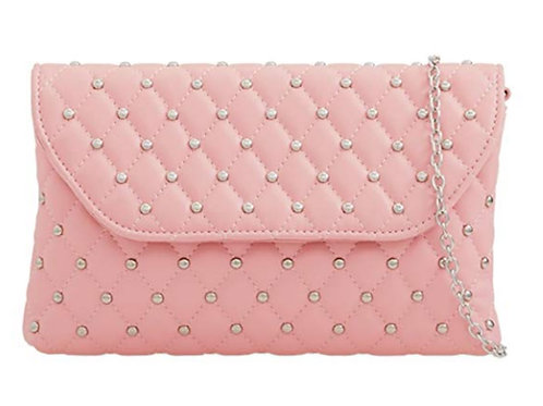 Light Pink Quilted Stud Crystal Clutch Bag