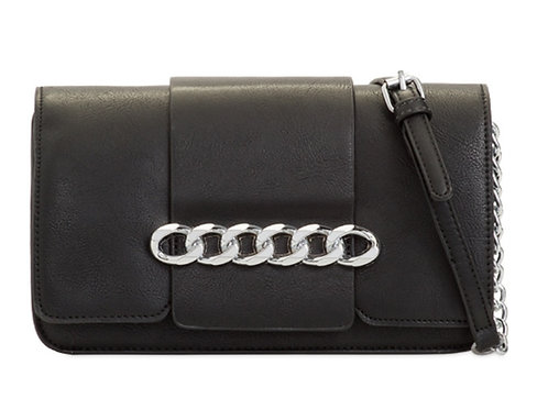 Womens Black Cross Body Messenger Bag Chain Strap
