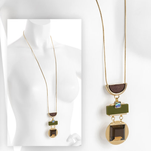 Long Gold brown Green Tones Fashion Necklace