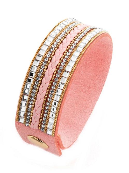 Light Pink Rhinestone Bead Wrap bracelet