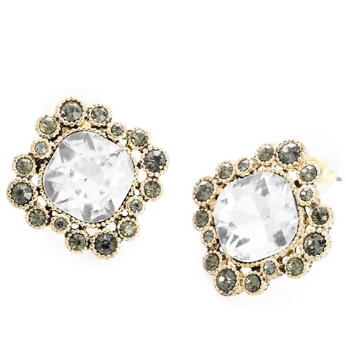 Antique gold colour crystal Hematite effect stud earring