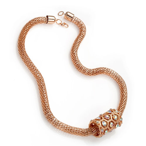 Rose Gold Crystal Barrel Necklace