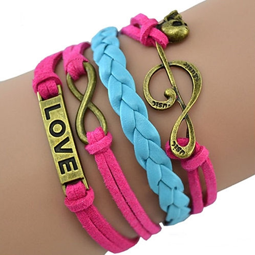 Pink and Blue Wrapround Leather Look Bracelet