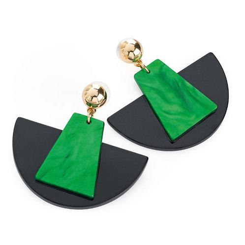Geometric Style Green Black Dangly Earrings
