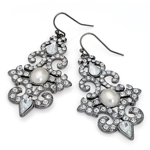 Womens Long Silver Crystal Glam Dangly Earrings
