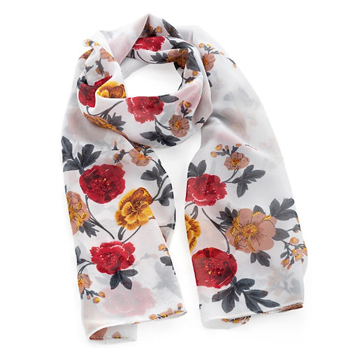 White Floral Flower Print Fashion Scarf
