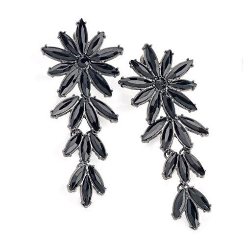 Long Black Bead Flower Drop Statement Earrings