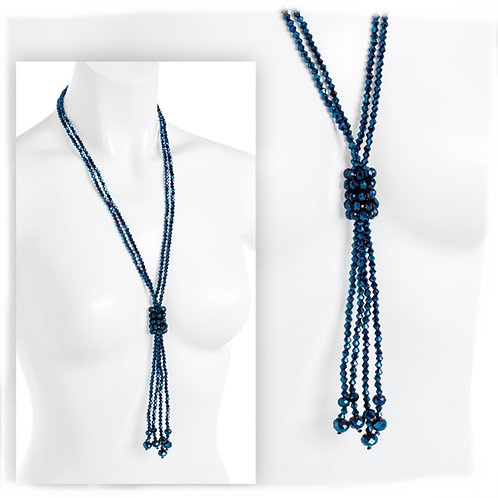 Long Irridescent Blue Metallic Bead Knotted Necklace 1920s Flapper