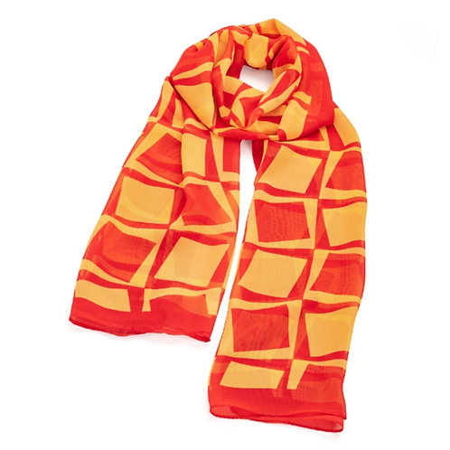 Red Yellow Squares Checked Scarf