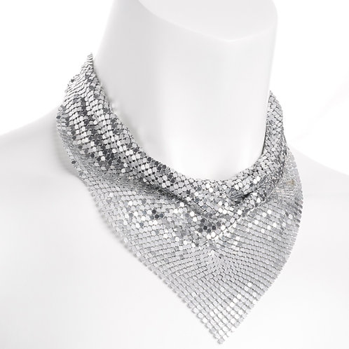 Silver Chain Mail Neckerchief Style Retro Necklace