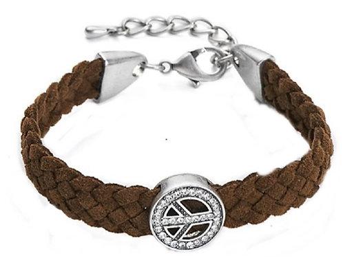Unisex Brown Plaited Peace Symbol Bracelet