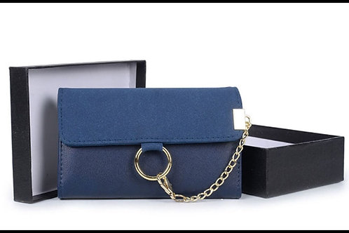 Womens Blue faux Leather Purse