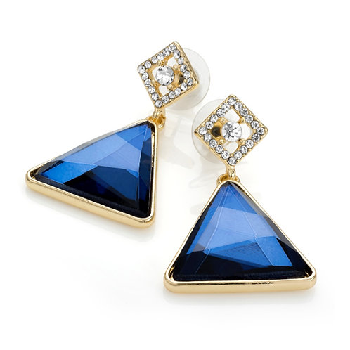 Blue and Gold Triangle Drop Earrings