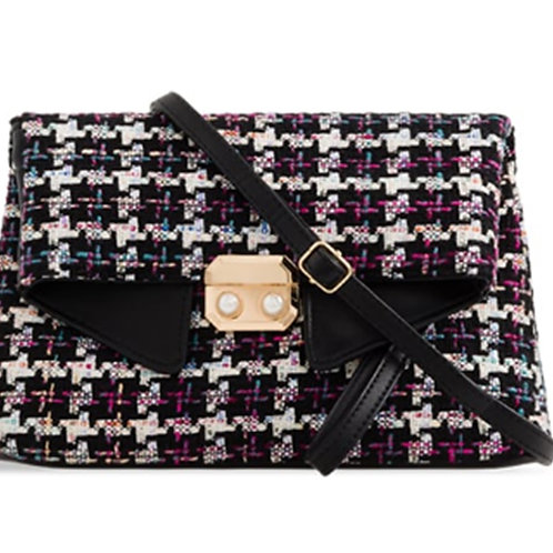 Womens Black Woven Foldover Clutch Bag