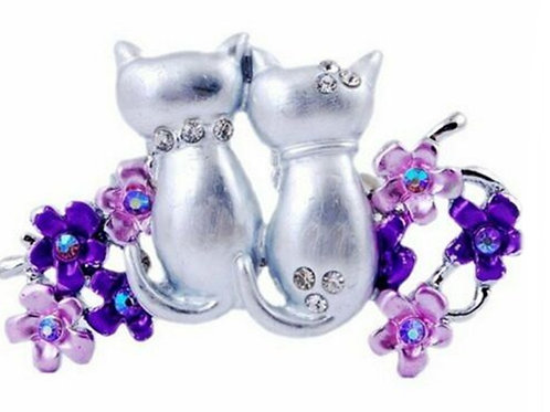 Silver Cats Flower Brooch Pin