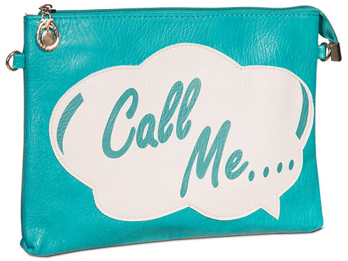 Turquoise Slogan Retro 1980s Clutch Bag