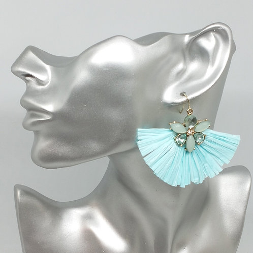 Light Blue Jewelled Fan Flapper Art Deco Earrings