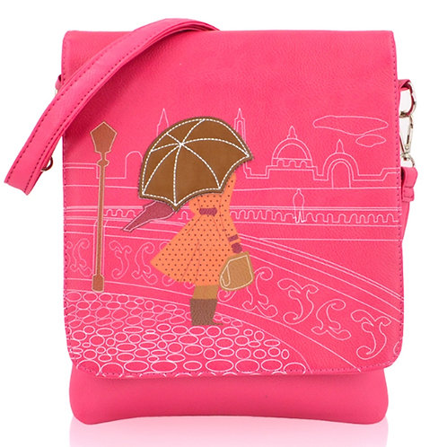 Pink Cross Body Messenger Bag Lady and Brolly