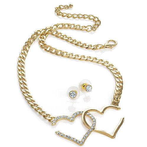 Gold Colour Double Cut out Heart Necklace Set