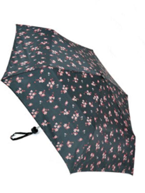 Ladies Black Floral Manual Umbrella