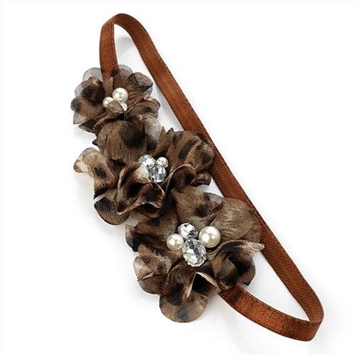 Brown Animal Print Pearl Hair Band