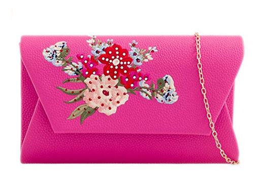 Fuchsia Pink Faux Leather Flower Clutch Bag
