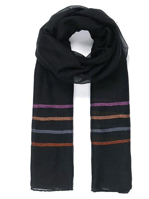 Unisex Black Striped Scarf