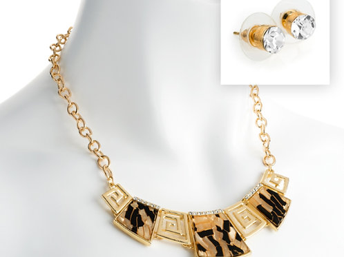 Gold Necklace and Earring Set Tortoise shell pattern