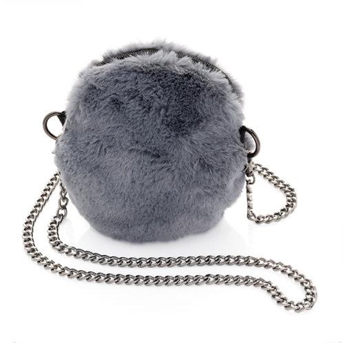 Womens Small Furry Grey Cross Body Messenger Bag