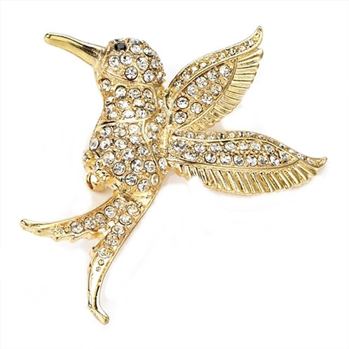 Gold Crystals Hummingbird Brooch