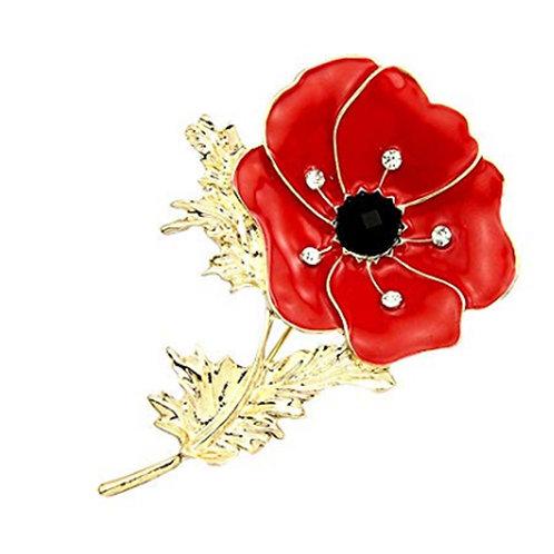 Red Poppy Dress Brooch