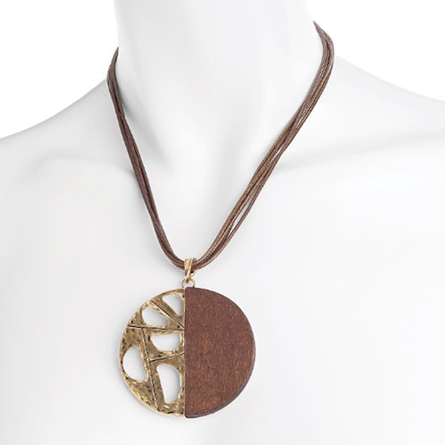 Brown Cord Wood Effect & Gold Disc Pendant Necklace