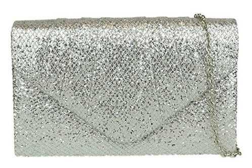 Womens Metallic Silver Glittery Clutch Bag