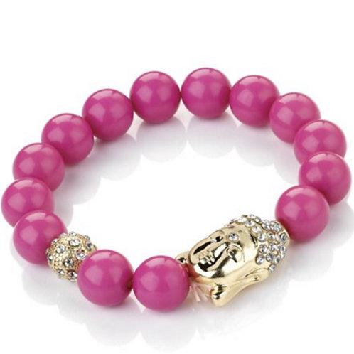 Pink Bead Buddha Stretch Bracelet