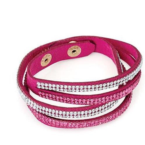 Fuchsia Pink Twisty Crystal Wrap Bracelet