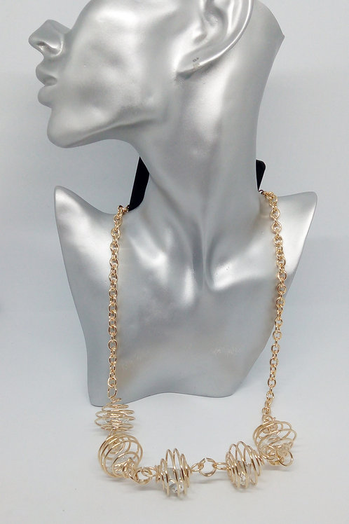 Womens Gold Cut out Ball Statement Necklace