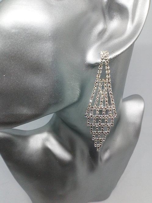 Ladies Silver Glitzy Chandelier Crystal Earrings