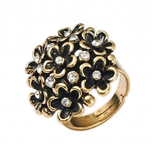 Black Gold Flower Adjustable Fashion Ring