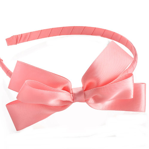 Pink Satin Bow Hair Band