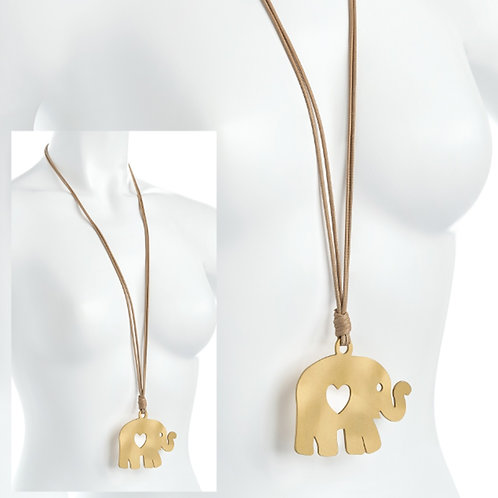 Long Cord Necklace gold Elephant Pendant