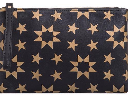 Black Gold Star Clutch Pouch Bag