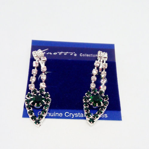 Emerald Green Diamante Clip on Earrings