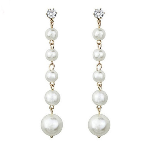 Ivory White Pearl Droplet Dangle Earrings